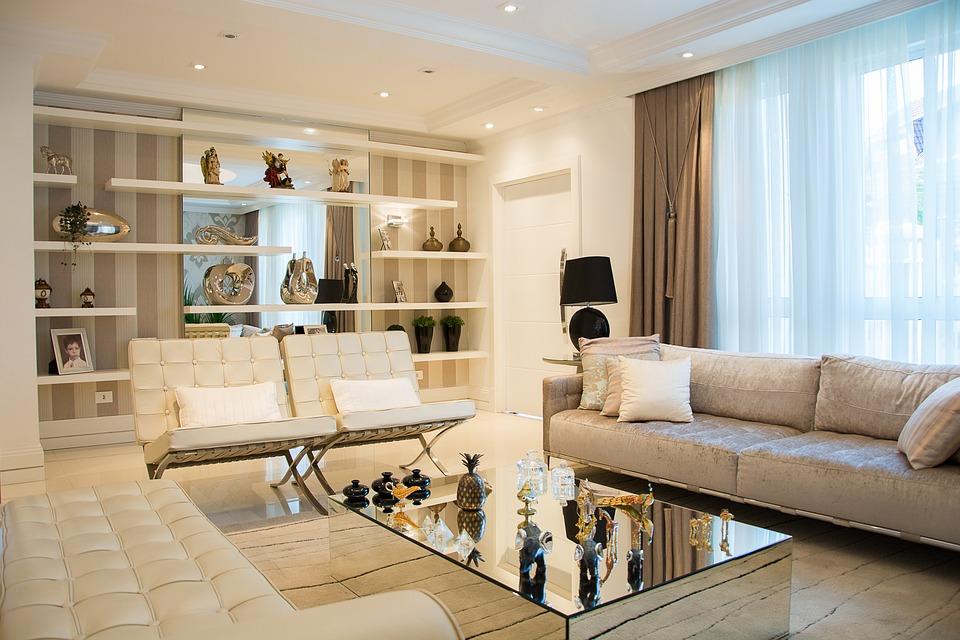 szyny sufitowe idealnie wkomponowane w salonie